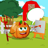 Painter devil pumpkin on a farm with speech bubble Royalty Free Stock Photography