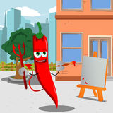 Painter devil red hot chili pepper in the city Royalty Free Stock Photos