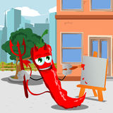 Painter devil red hot chili pepper in the city Royalty Free Stock Image