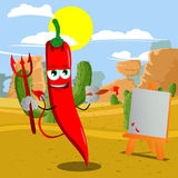 Painter devil red hot chili pepper in the desert Stock Photo