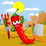 Painter devil red hot chili pepper in the desert Stock Photography