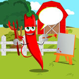 Painter devil red hot chili pepper on a farm with speech bubble Stock Image