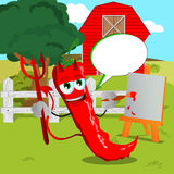 Painter devil red hot chili pepper on a farm with speech bubble Royalty Free Stock Photography