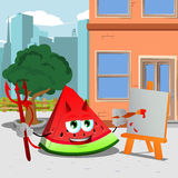 Painter devil slice of watermelon in the city Royalty Free Stock Image