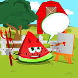 Painter devil slice of watermelon on a farm with speech bubble Stock Photography
