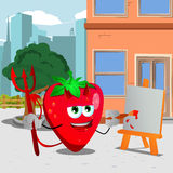 Painter devil strawberry in the city Royalty Free Stock Photos