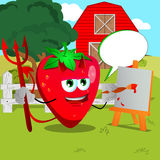 Painter devil strawberry on a farm with speech bubble Stock Photography