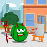 Painter devil watermelon in the city Royalty Free Stock Images