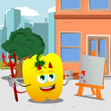 Painter devil yellow bell pepper in the city Stock Image
