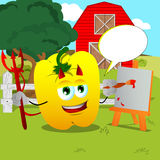 Painter devil yellow bell pepper on a farm with speech bubble Royalty Free Stock Photos