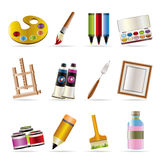Painter, Drawing And Painting Icons Royalty Free Stock Photography