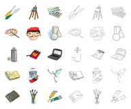 Painter and drawing cartoon,outline icons in set collection for design. Artistic accessories vector symbol stock web vector illustration