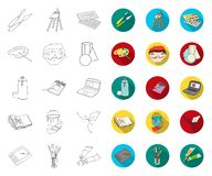 Painter and drawing outline,flat icons in set collection for design. Artistic accessories vector symbol stock web royalty free illustration