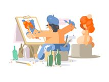 Painter draws naked girl. Creative person creates work of art. Vector illustration Stock Images