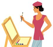 Painter with   easel with paints Royalty Free Stock Photos