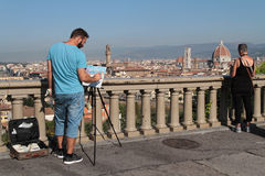 Painter and Florence cityscape. Stock Images