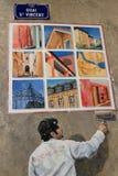Painter on Fresque des Lyonnais Stock Image