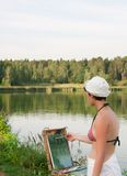 Painter-girl en plein air Royalty Free Stock Images