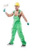 Painter in green coveralls Royalty Free Stock Photos
