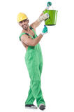 Painter in green coveralls Royalty Free Stock Images