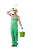 Painter in green coveralls Stock Images