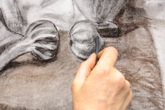 Painter hand drawing sketch Royalty Free Stock Photos