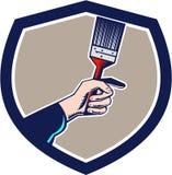 Painter Hand Holding Paintbrush Crest Retro Stock Image
