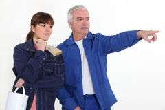 A painter and his apprentice. Stock Photos