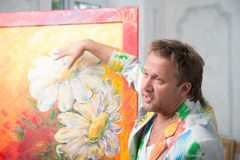 Painter and his art Royalty Free Stock Photo