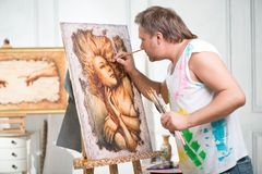 Painter and his art Royalty Free Stock Photos