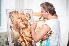 Painter and his art Royalty Free Stock Photography