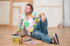 Painter and his art Stock Photo