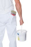 Painter Holding A Paint Roller And Bucket Stock Image