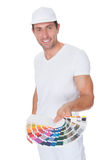 Painter Holding A Paint Roller And Spectrum Stock Images