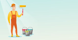 Painter holding paint roller vector illustration. Royalty Free Stock Image