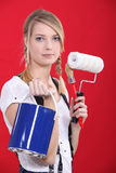 Painter holding supplies Royalty Free Stock Photography