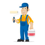 Painter holds roller and bucket Royalty Free Stock Photo