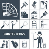 Painter icons set black Royalty Free Stock Photo