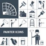 Painter icons set black Royalty Free Stock Photo