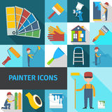 Painter icons set flat shadow Royalty Free Stock Images