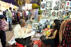 Painter in Kolkata Book Fair Stock Photos