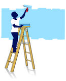 Painter on ladder Stock Image