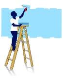 Painter on ladder Stock Image