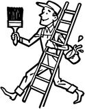Painter With Ladder Stock Photography