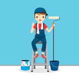 Painter On Ladder Front Of Wall, People Occupations Stock Photos