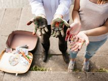 Painter lifestyle work art concept. Creative untidiness. Aspects of the profession Stock Photos