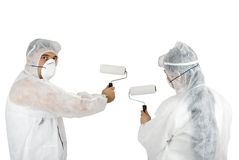 Painter man and painter woman Royalty Free Stock Image