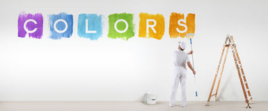 Painter Man Painting Colors Text Isolated On Blank White Wall
