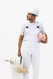 Painter man with piggy bank, isolated on white Stock Images