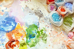 Painter mix. Color pigments ant dyes for painting mix stock image